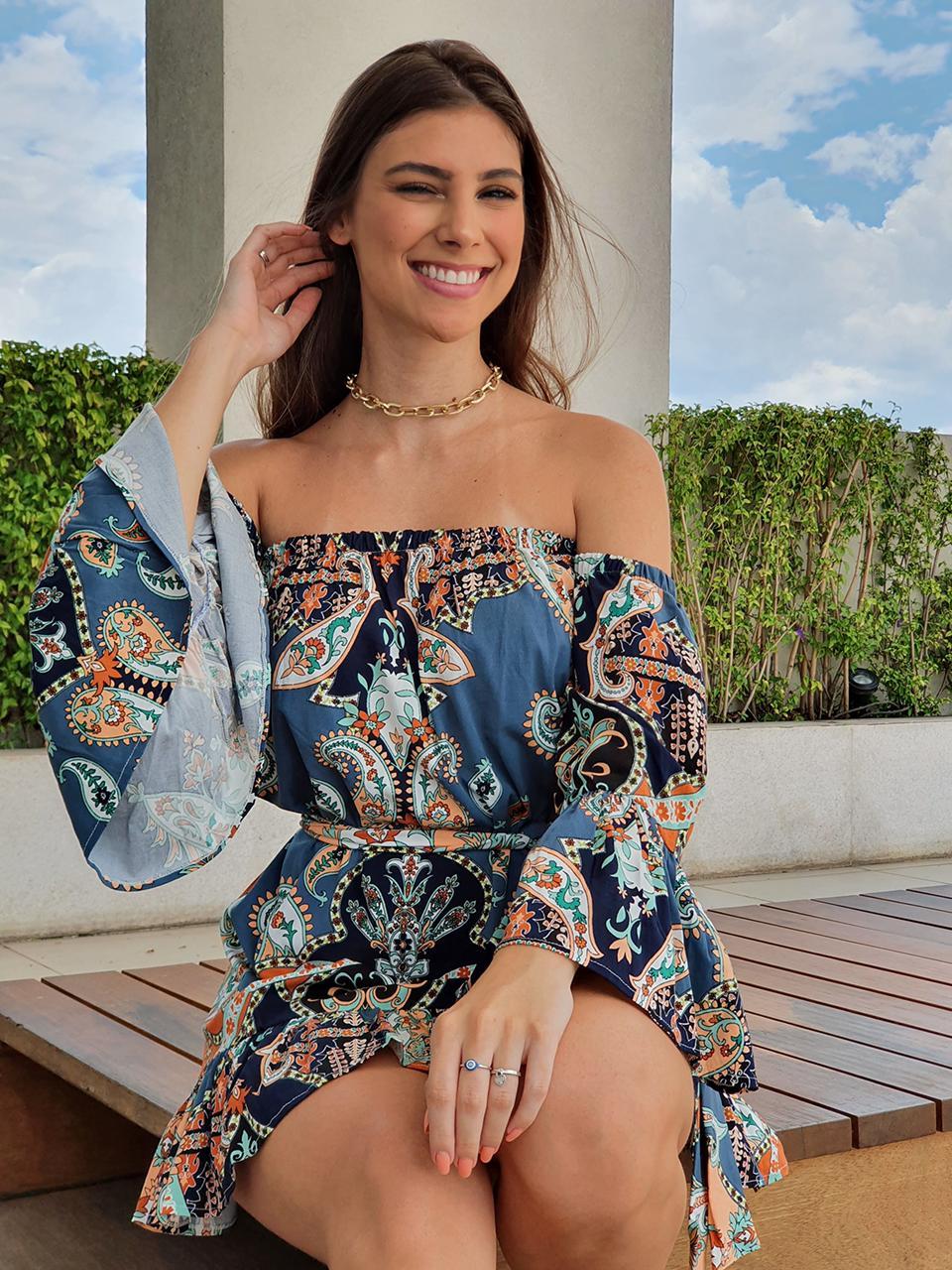 Vestido Bata  Ciganinha com Cinto Estampa Floral