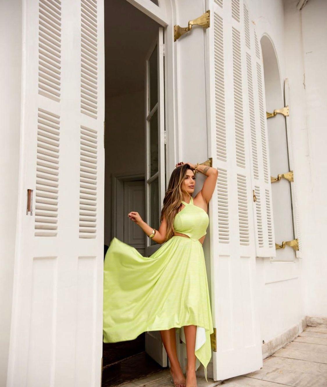 Vestido Bela Amarração Midi Frente Única Verde Lima