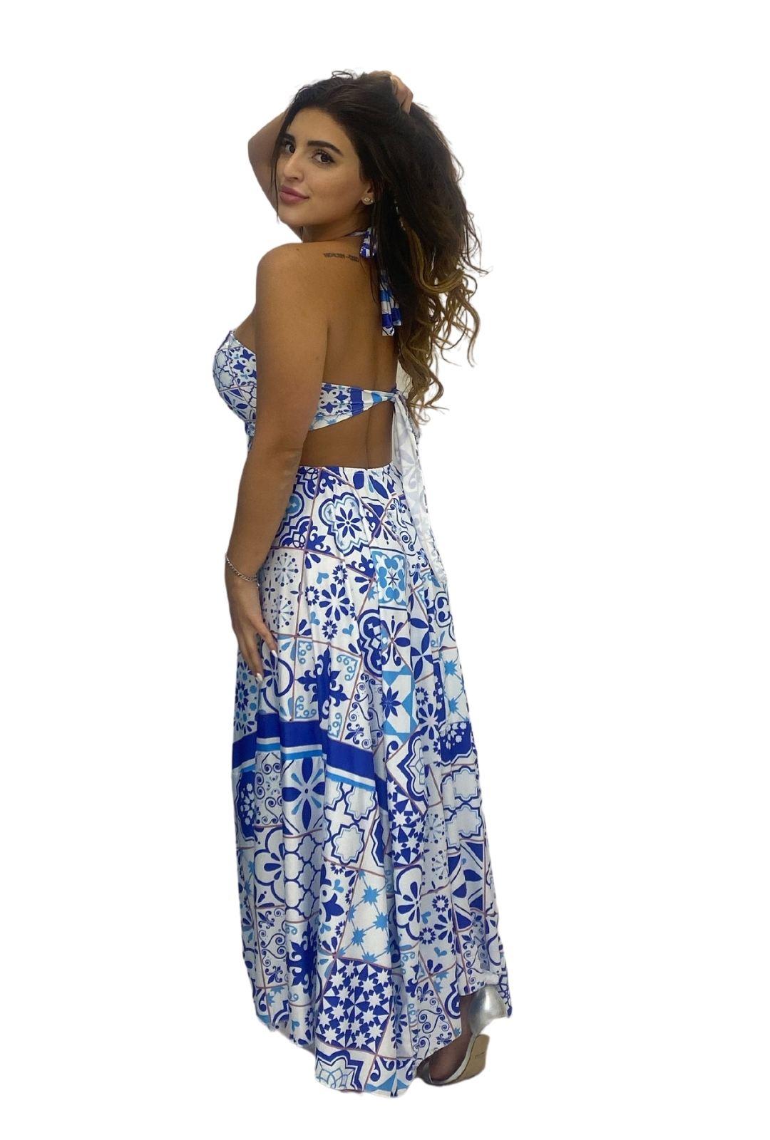 Vestido Bico Midi Frente Única Azul Estampa Azulejo
