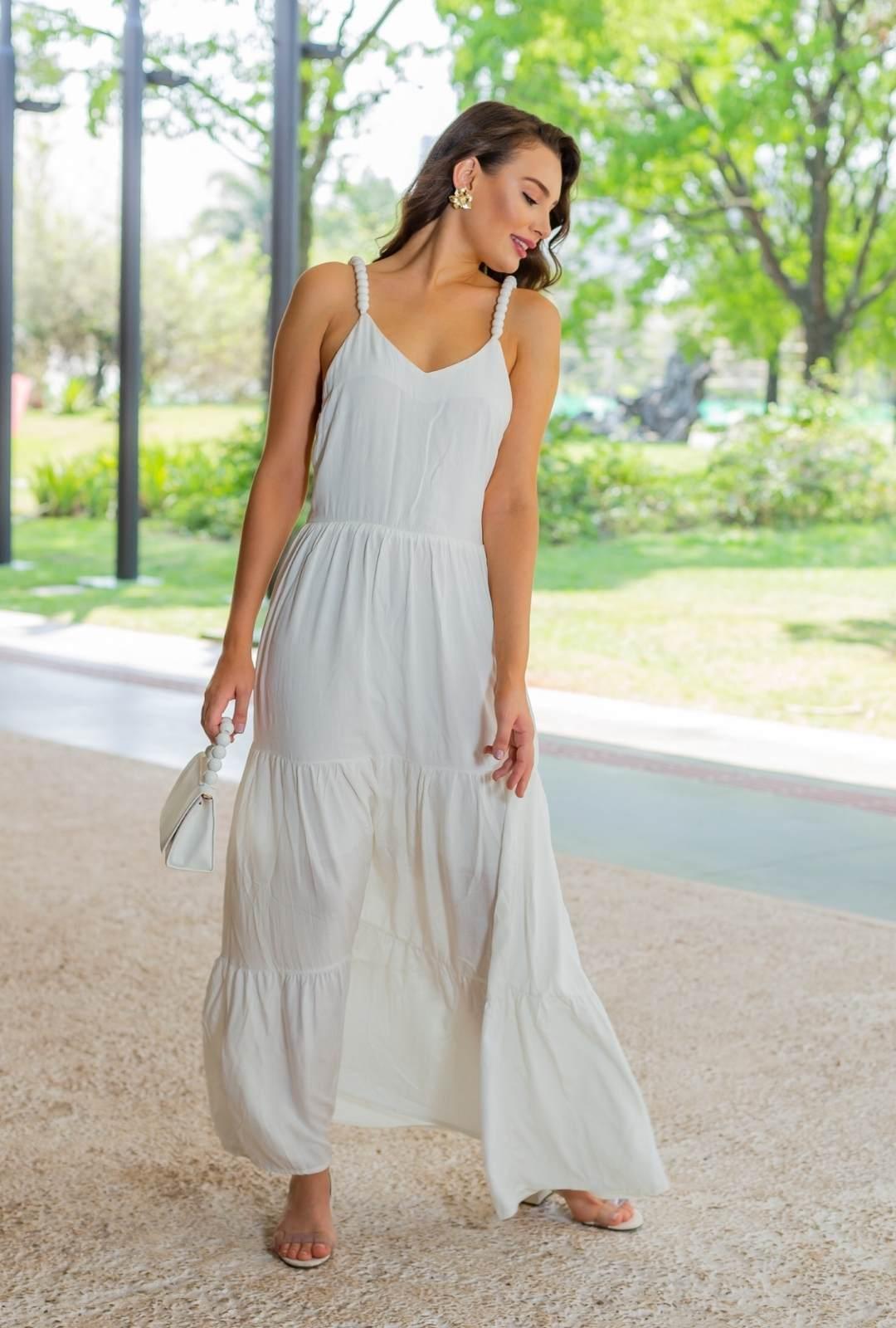 Vestido Bolinhas Clarice Longo Branco Viscose