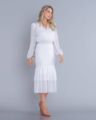 Vestido Branco Midi  Manga Longa Poá