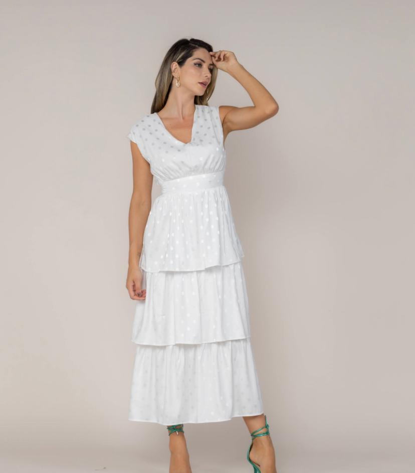Vestido Cetim Poá Babados Branco