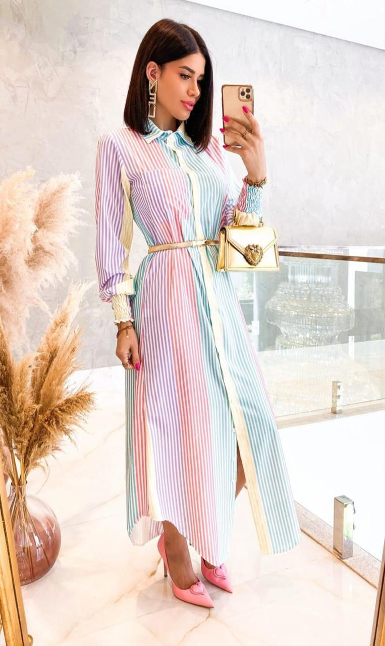 Vestido Chemise Camisão Manga Longa Listras Color