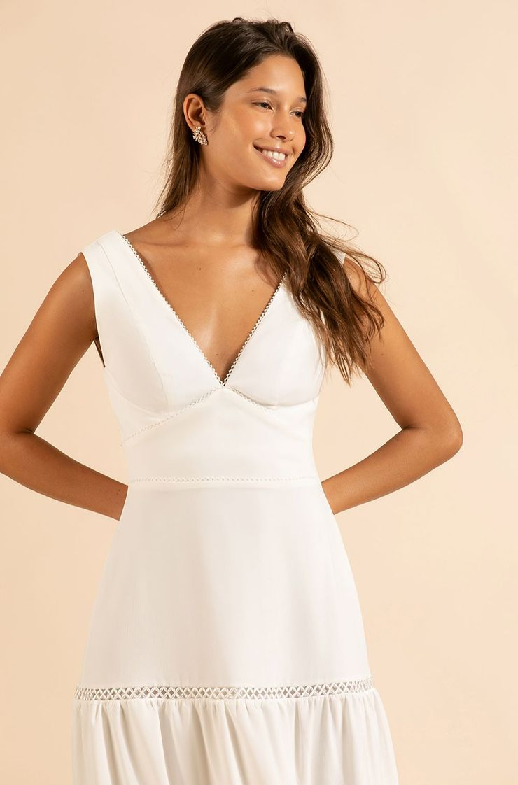 Vestido Crepe Valley Midi Branco