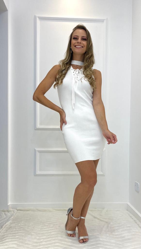 Vestido Curto Amarras Strech Off White Branco