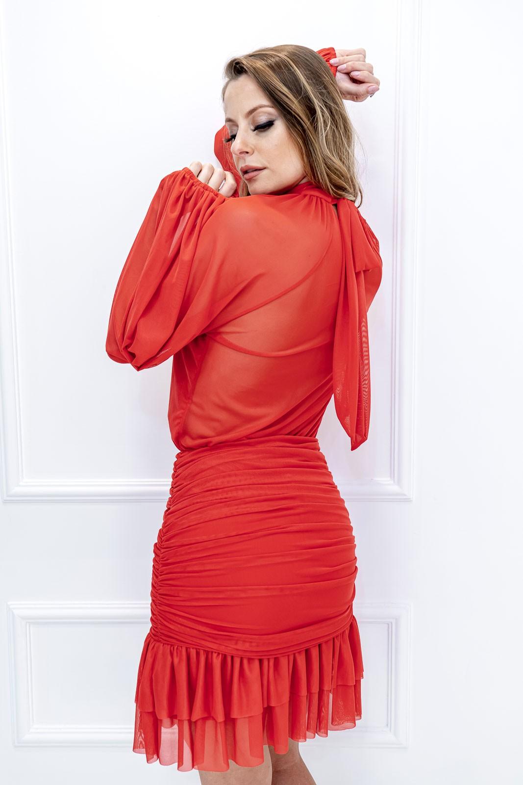 Vestido Curto Ariadne Vermelho Manga Longa