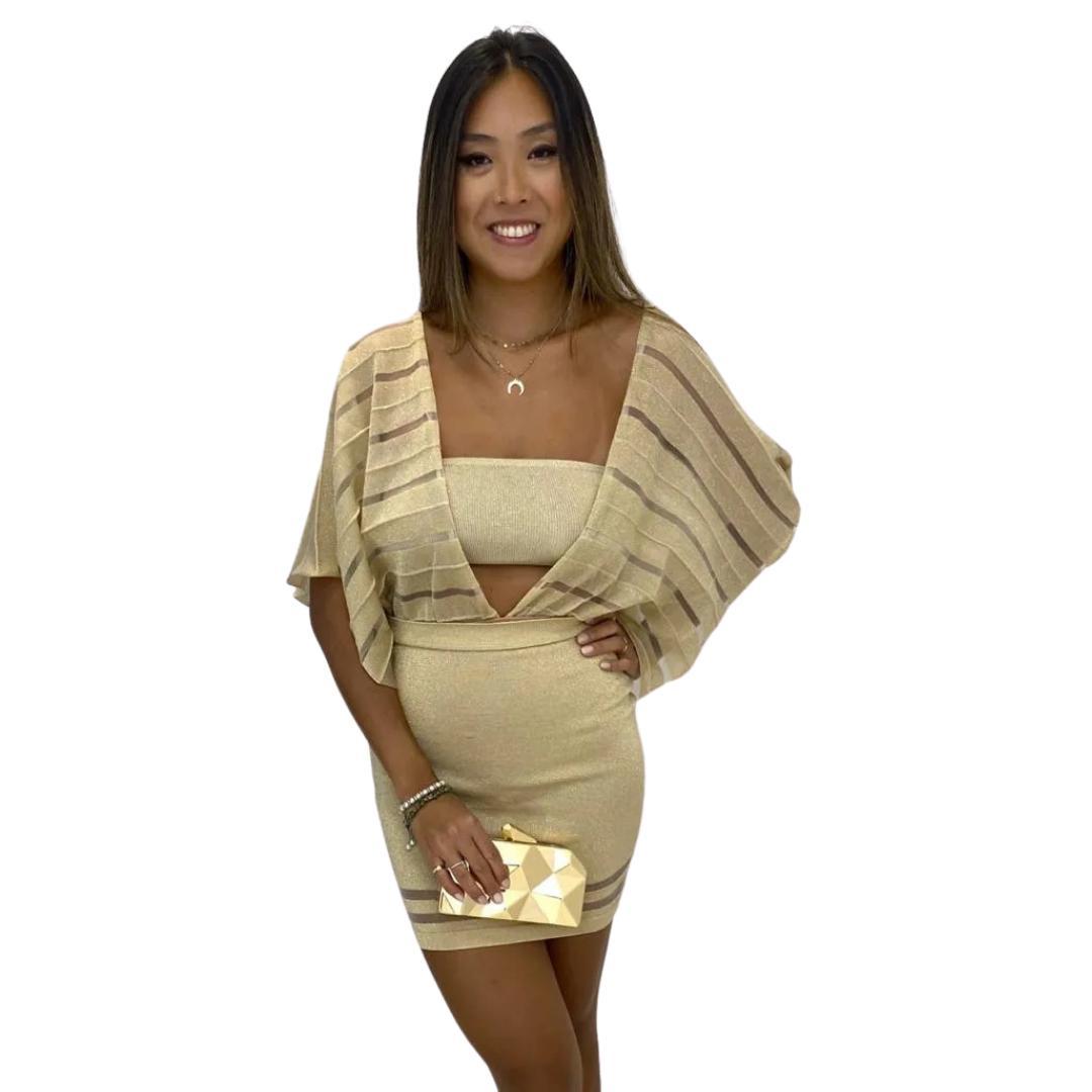 Vestido Curto Conjunto Dione Dourado