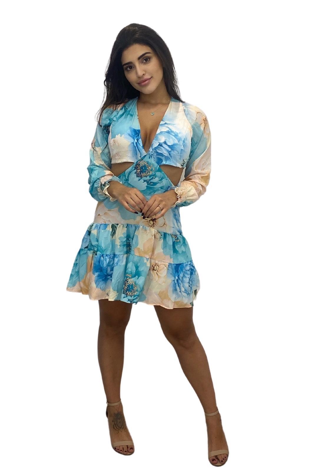 Vestido Curto Manga Longa Alice Floral Silk Flow