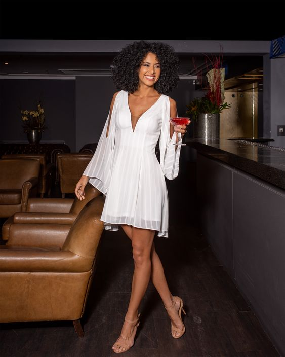 Vestido Curto Manga Longa Crepe Venice Branco
