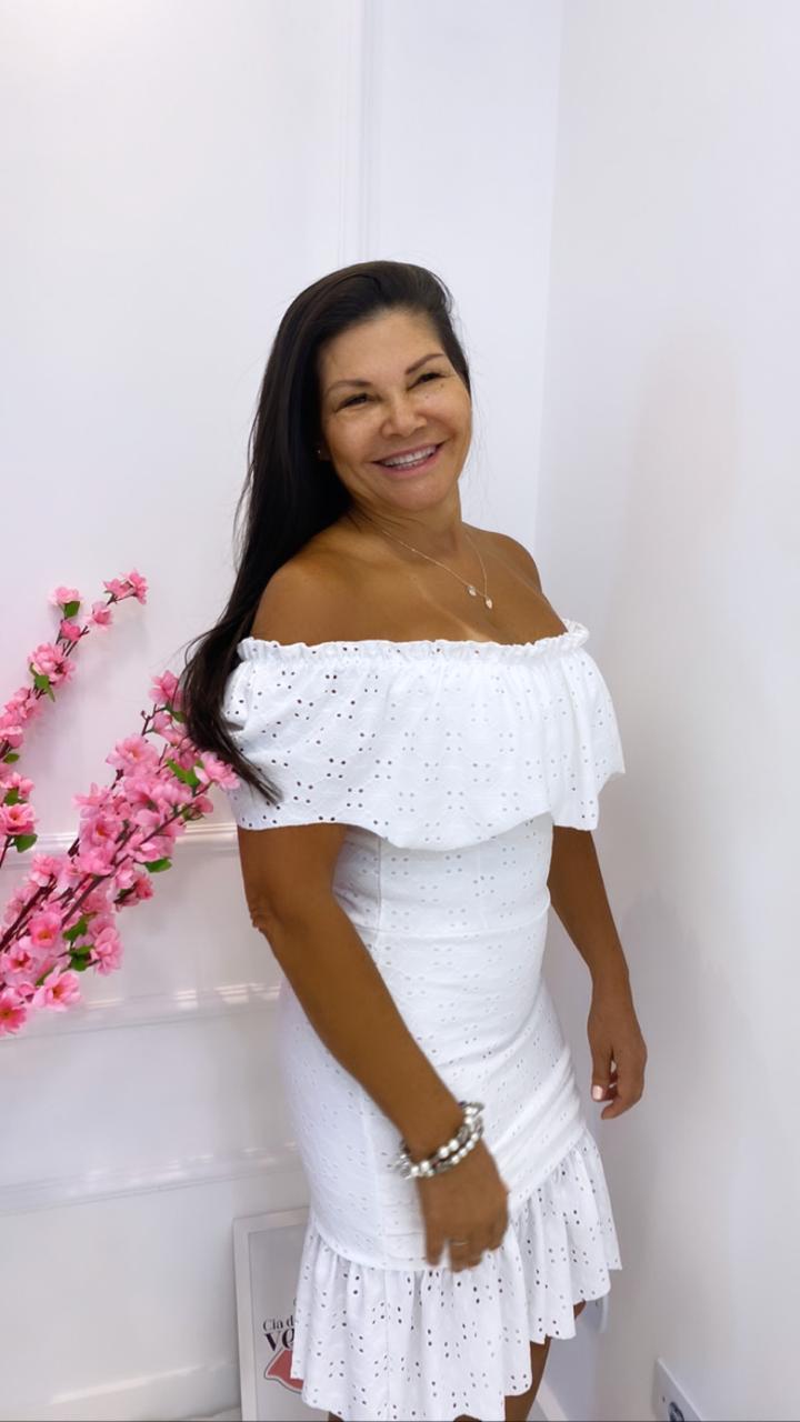 Vestido Curto Ombro a Ombro Branco