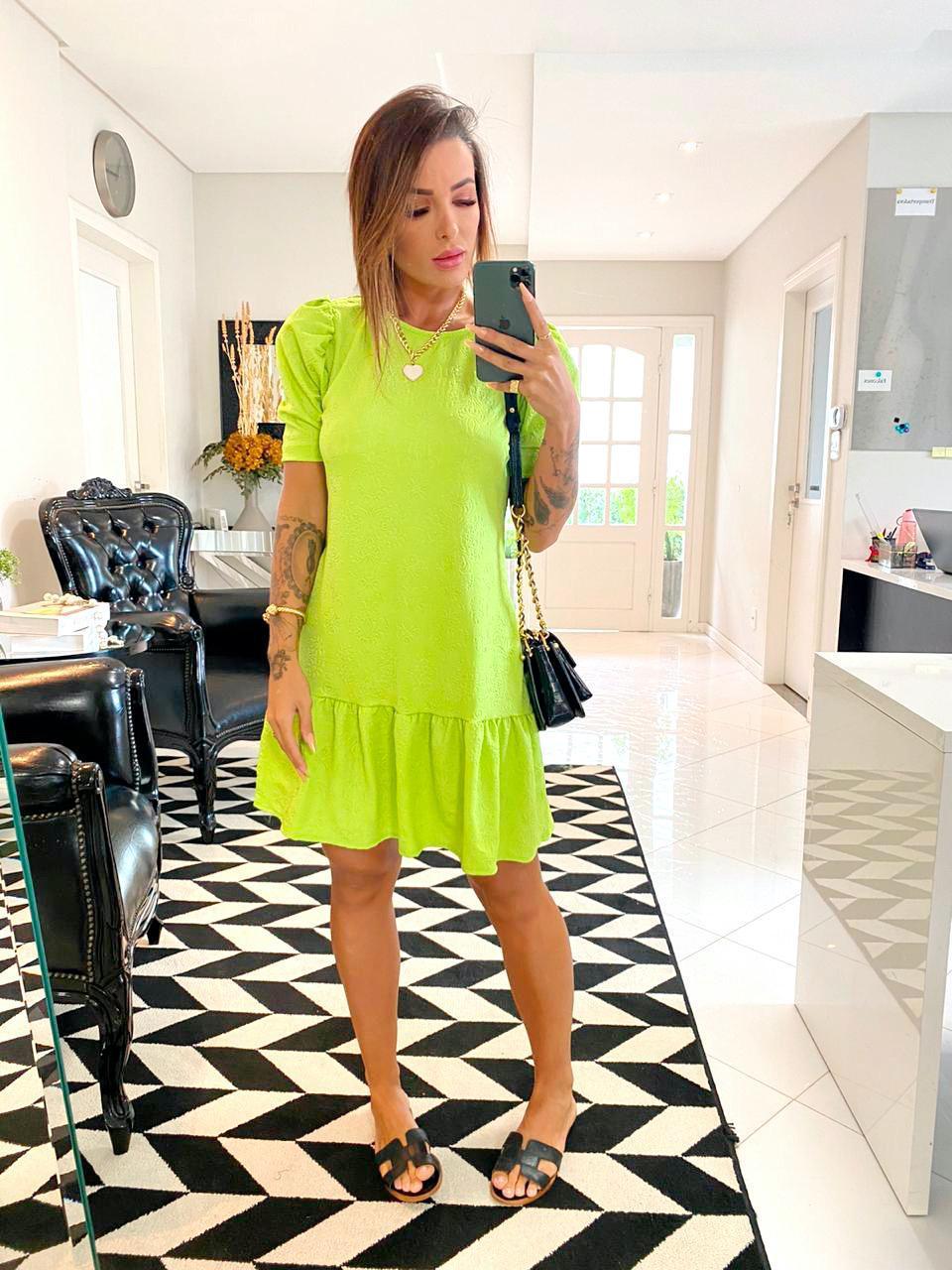 Vestido Curto Verde  Lima Relevo