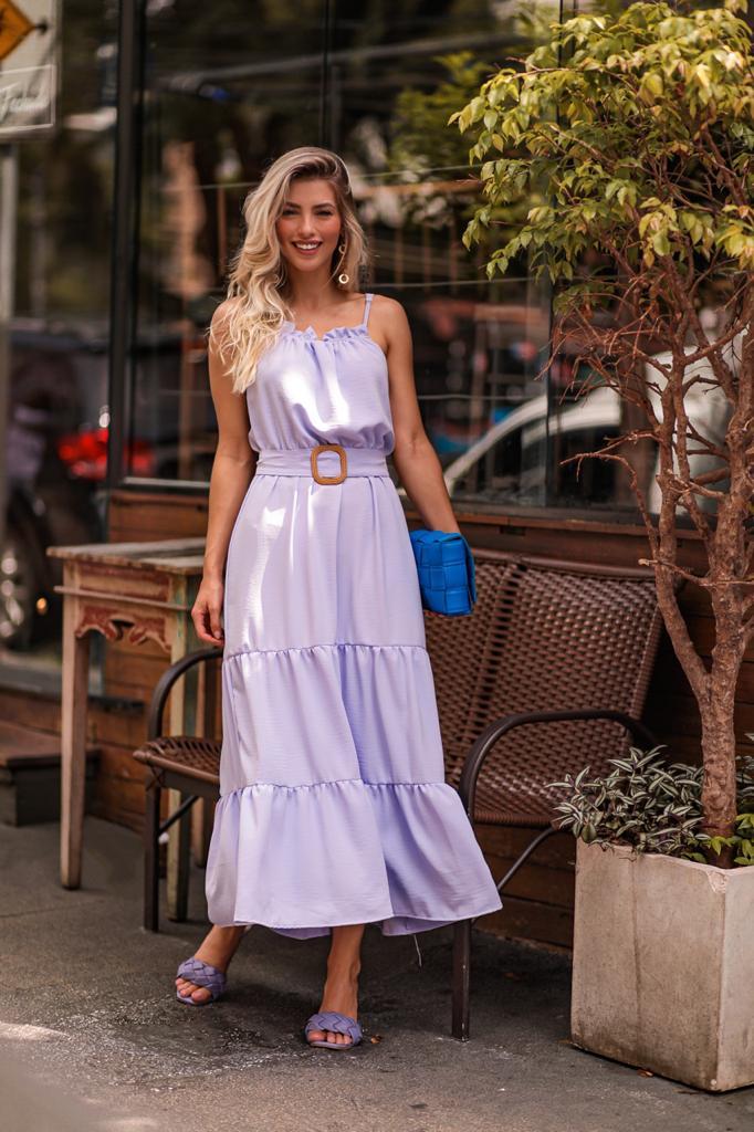 Vestido Dulce Midi Lilás com Cinto