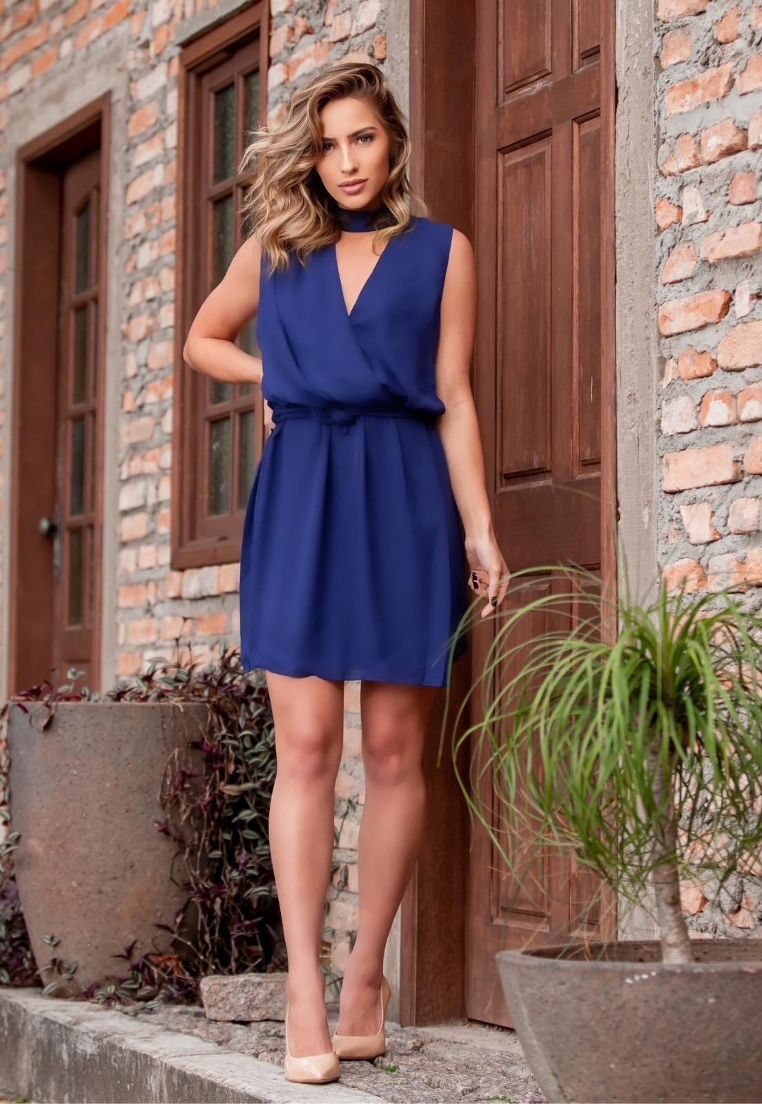 Vestido Esmé Curto Azul Marinho