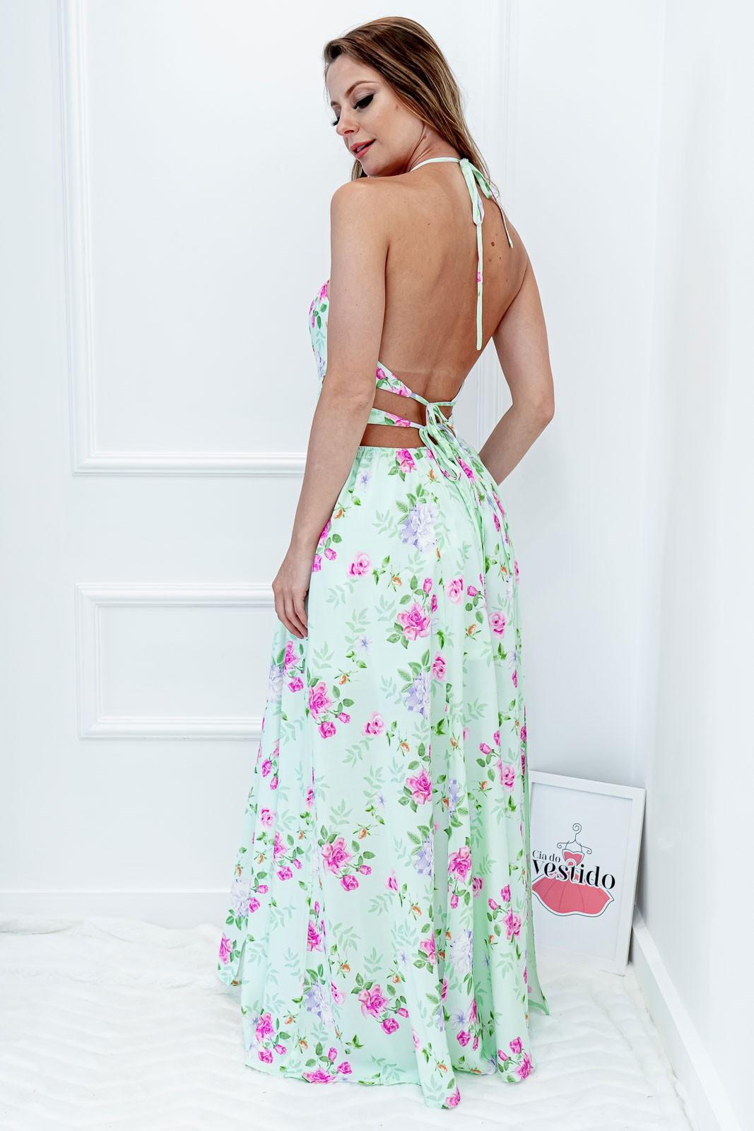 Vestido Floral Amarração Longo