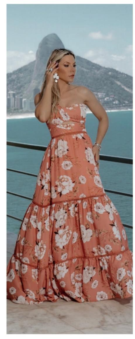 Vestido Floral Longo Romântico 1 Ombro