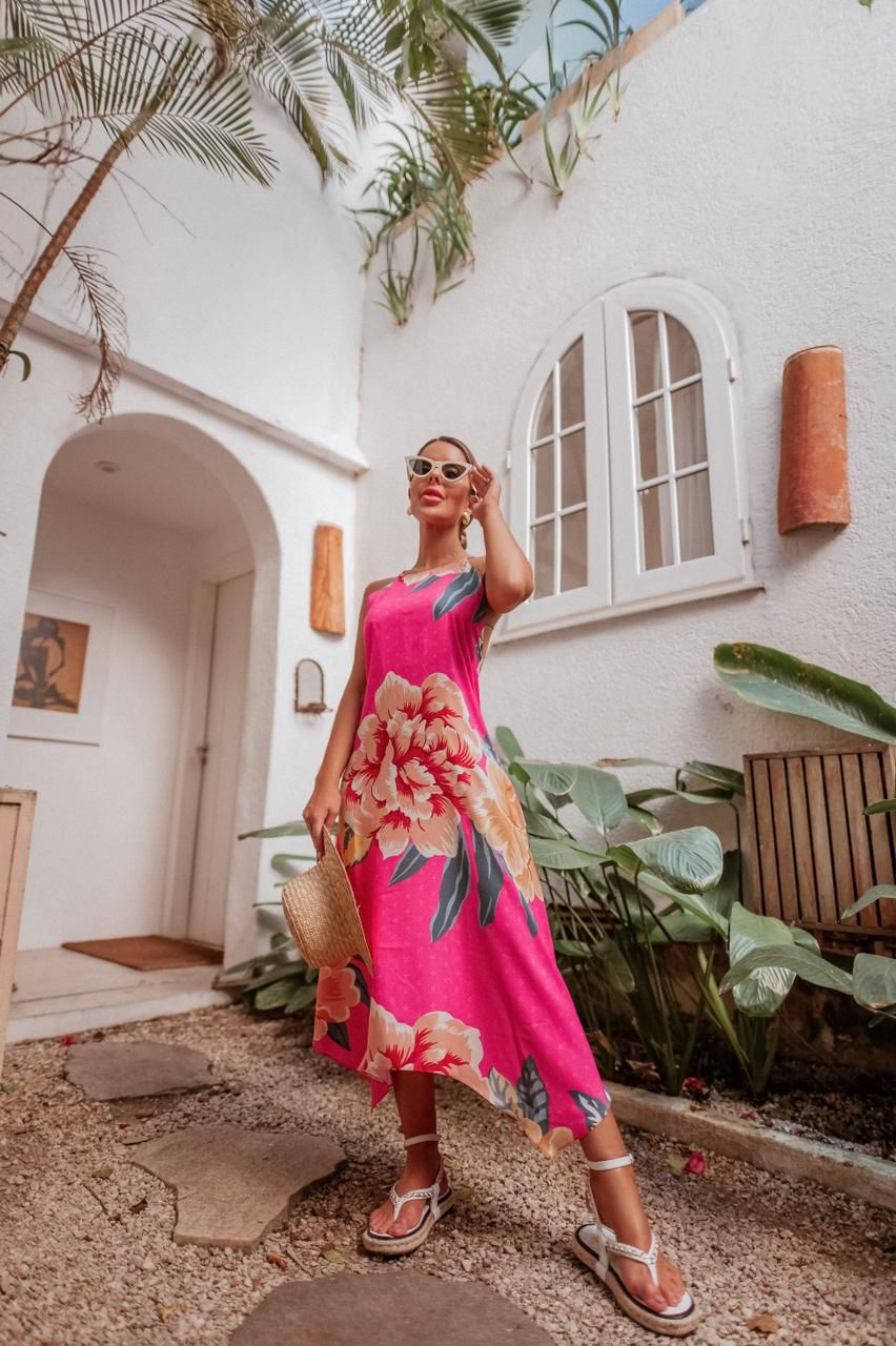 Vestido Floral Midi Frente Única SUMMER
