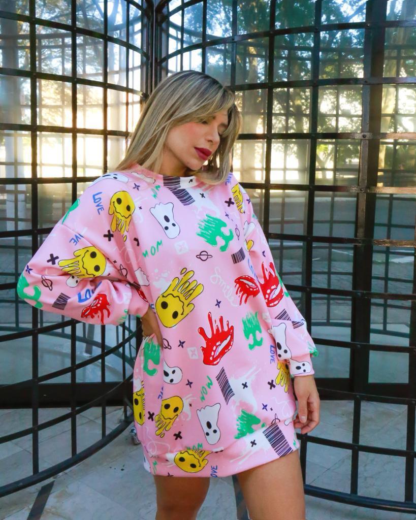 Vestido Funny Blusão Estampado Manga Longa Rosa