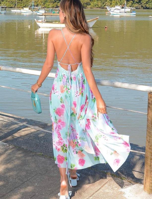 Vestido Kendal Floral Tule com Renda Chantilly Frente Única