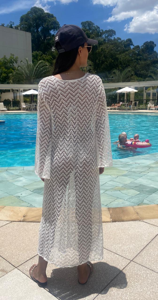 Vestido Kimono Manga Longa Saída de Praia Branco Renda