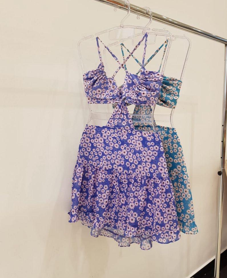 Vestido Kylie  Curto Floral Decote Amarração