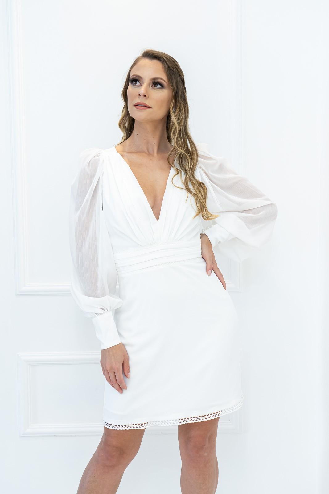 Vestido Latte Branco Curto Manga longa