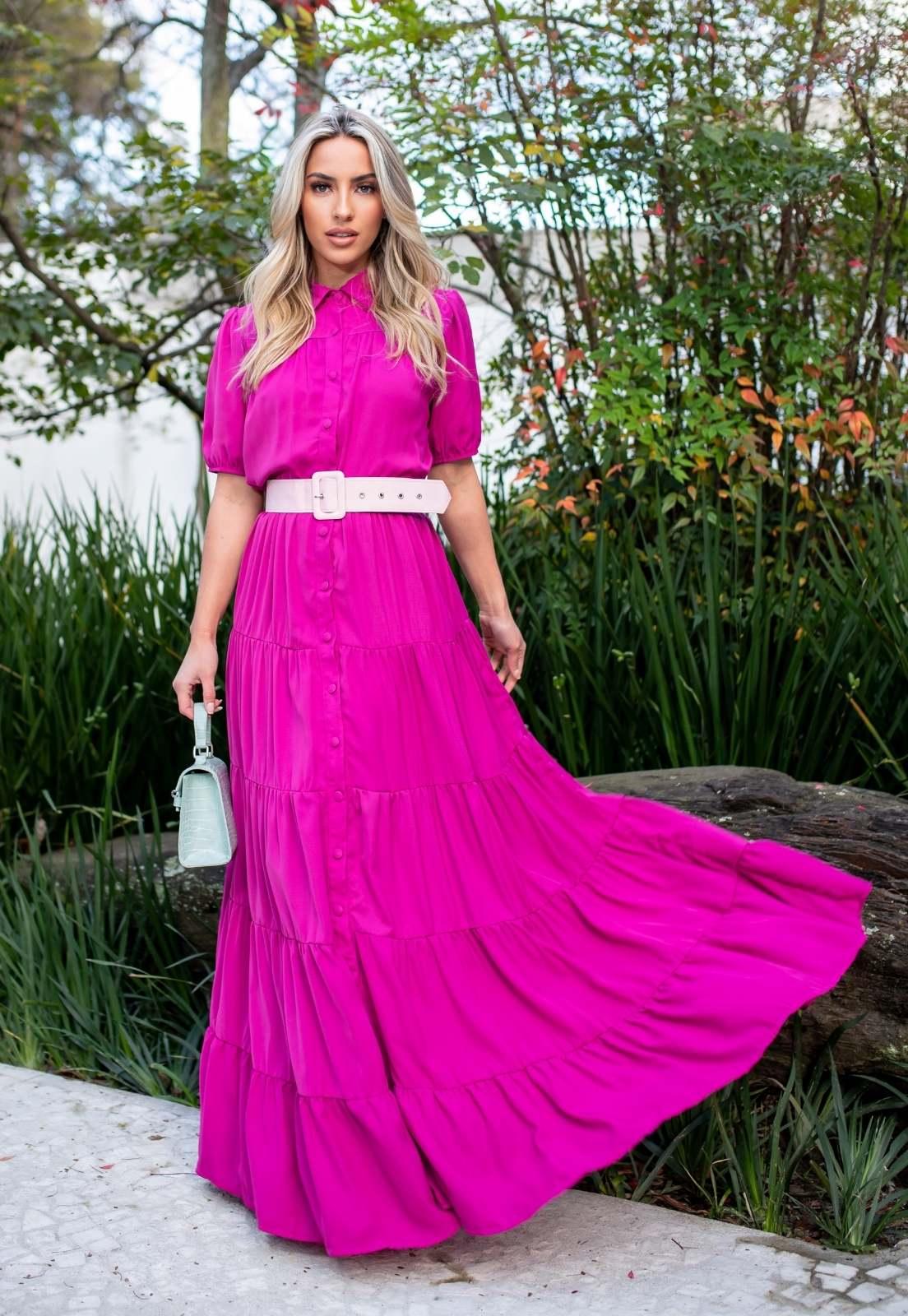 Vestido Laís  Longo Camadas Fluído Botões Crepe de Seda