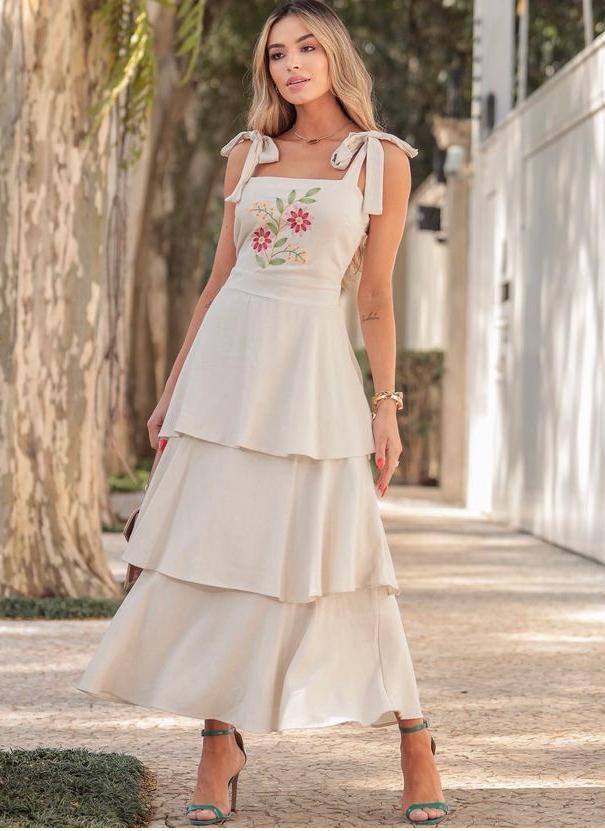 Vestido Linho Midi Camadas Bordado