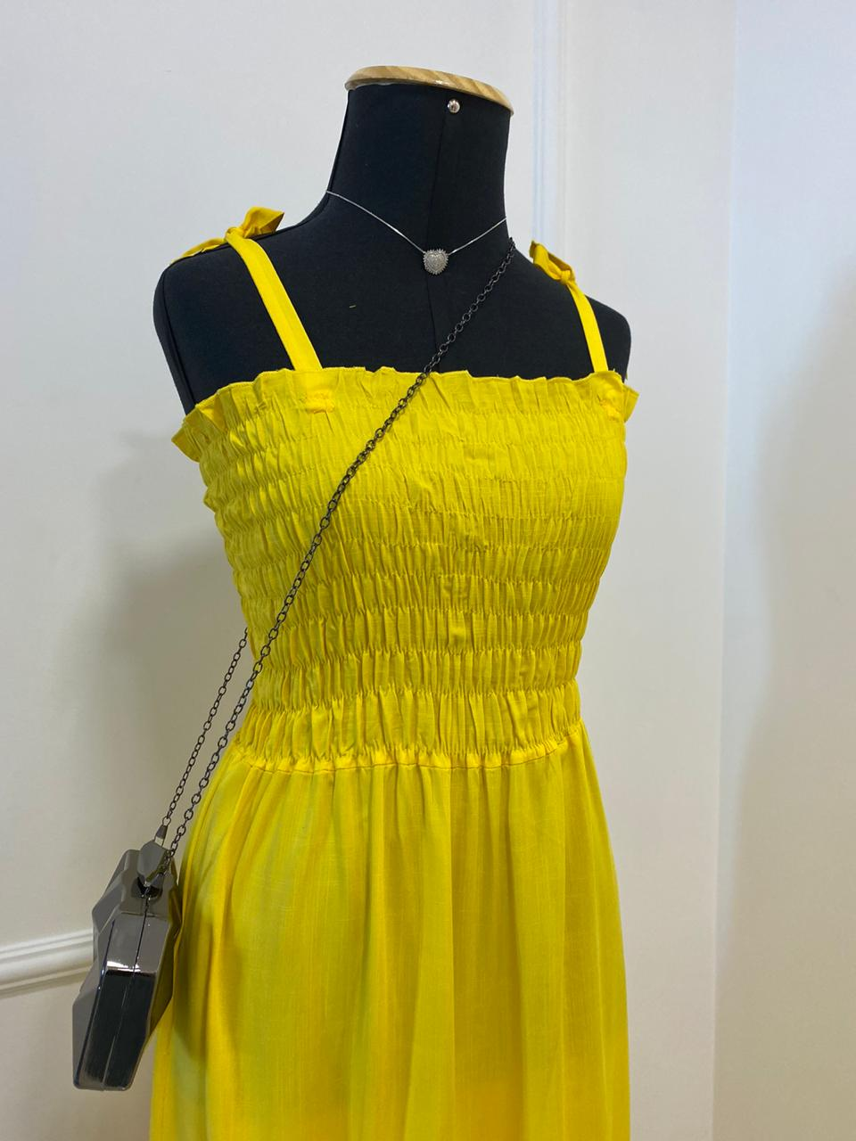 Vestido Longo Alcinha Amarelo (Tamanho Único)