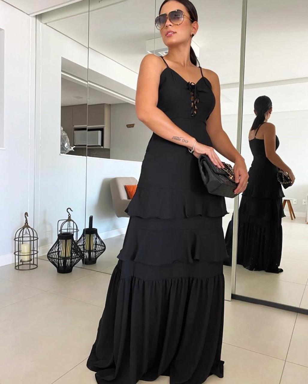 Vestido Longo Amarração camadas