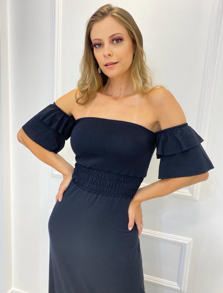 Vestido longo Ciganinha Preto (Tamanho único)