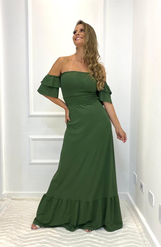 Vestido longo Ciganinha Verde Militar (Tamanho único)