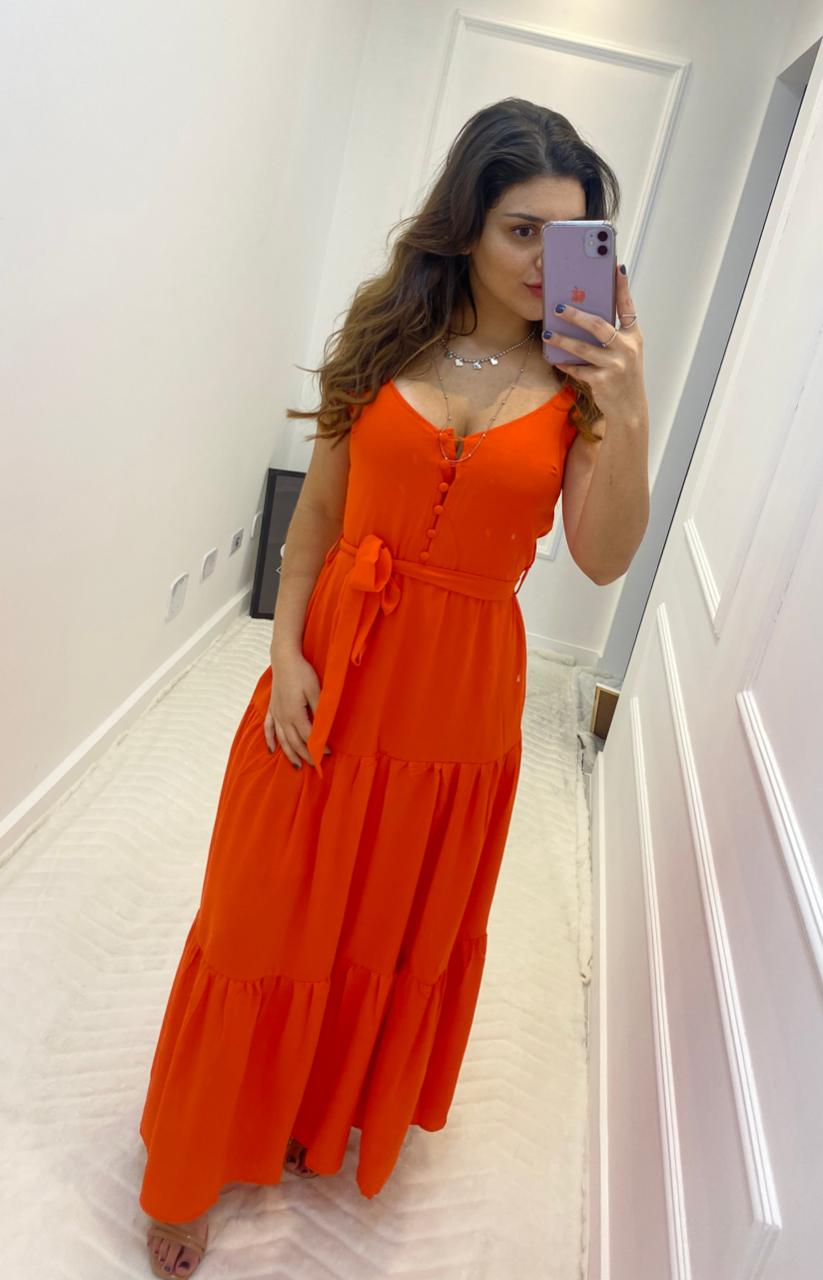 Vestido Longo Color Laranja Botões