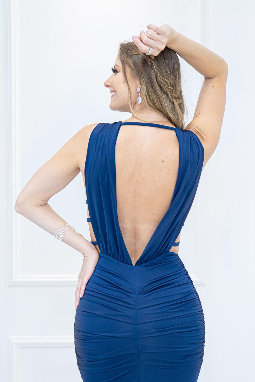 Vestido Longo Decotado Sofia  Azul Petróleo