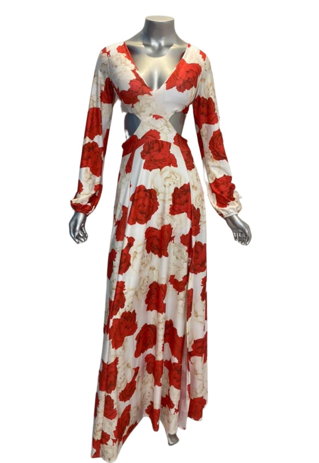 Vestido Longo Estampado Floral Lia Manga Longo Abertura  Fluity Vermelho e Branco