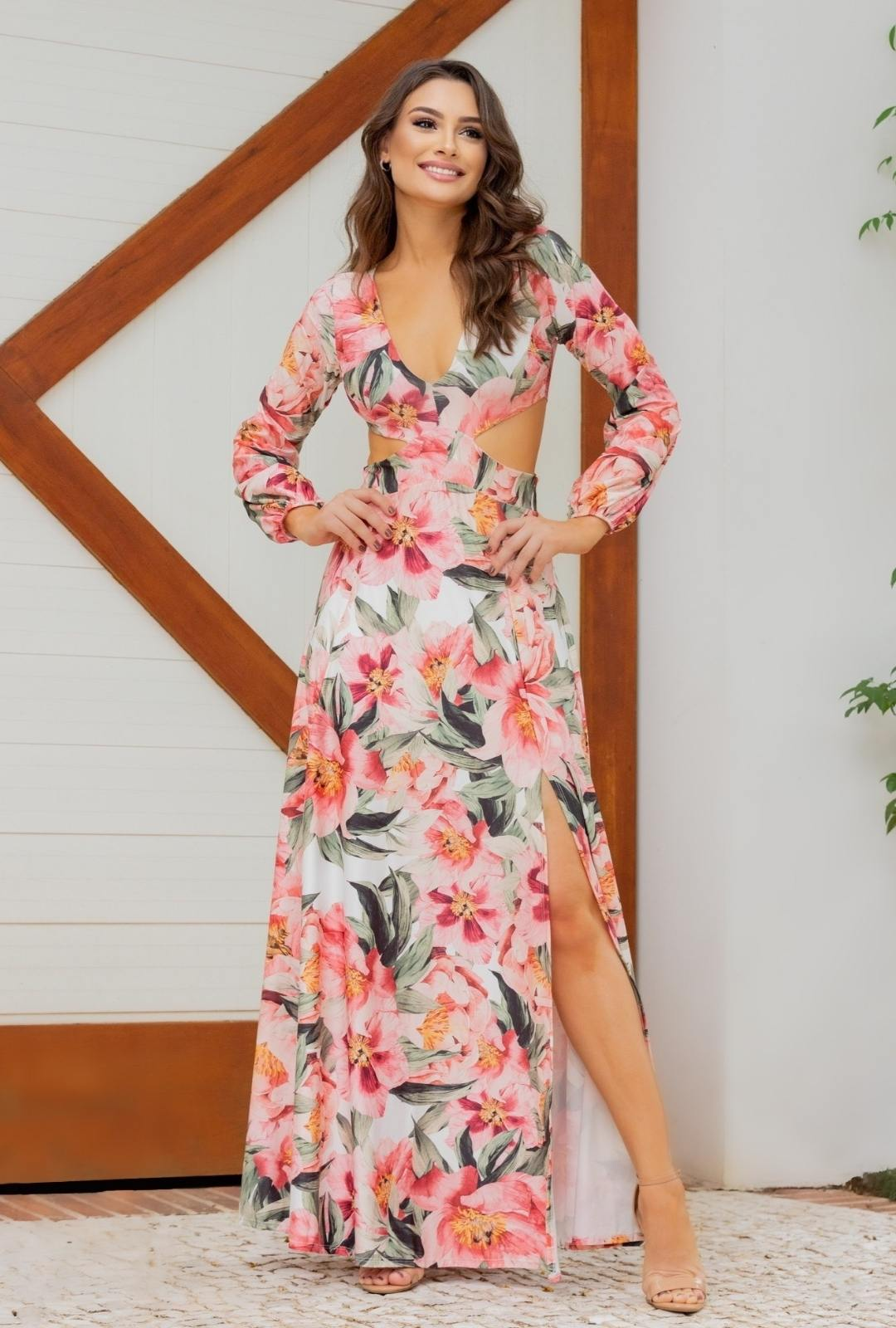 Vestido Longo Estampado Floral Lia Manga Longo Abertura  Fluity Rosa