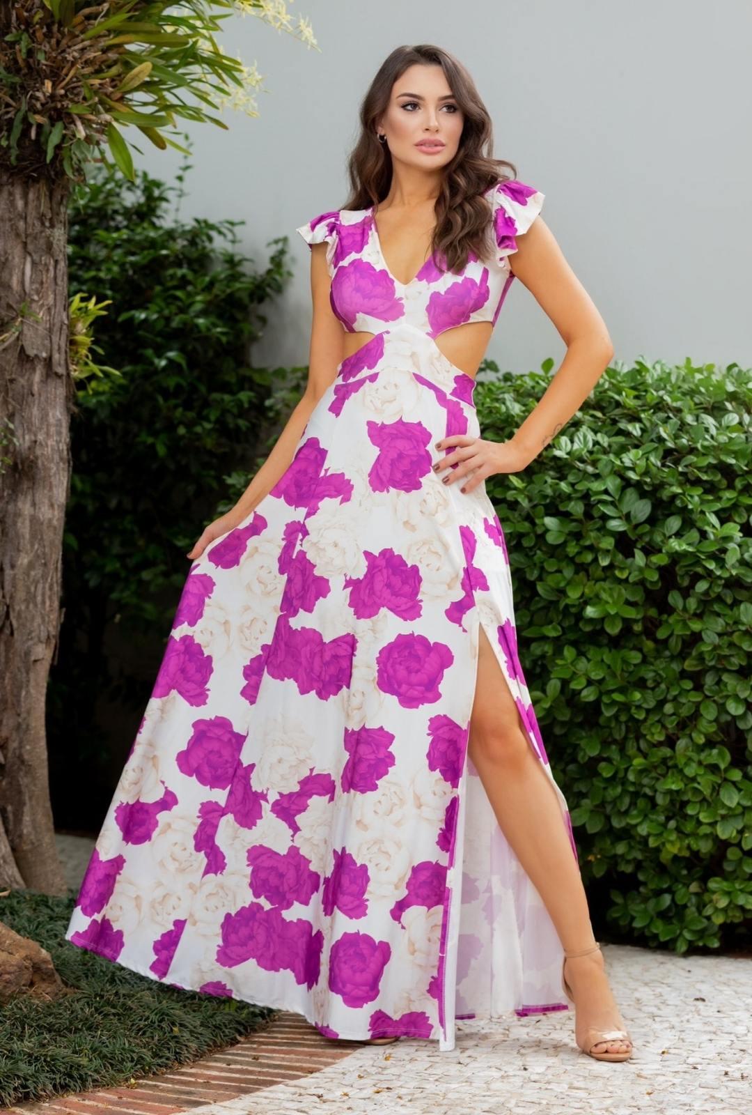 Vestido Longo Estampado Floral Liana Manga Curta Fluity Roxo