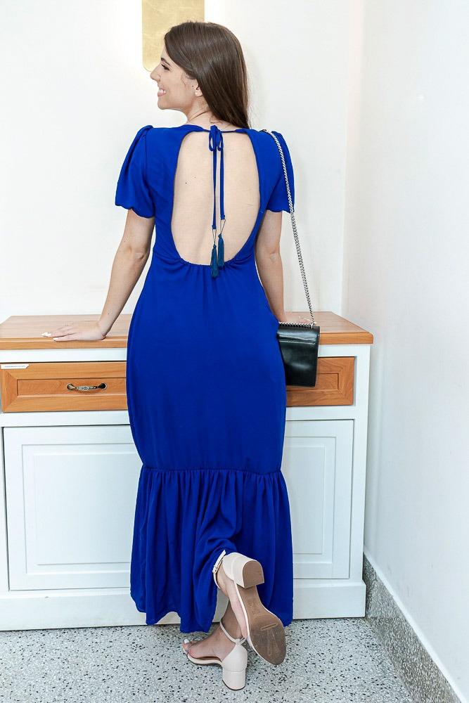 Vestido Longo Briller Jennifer Abertura Azul