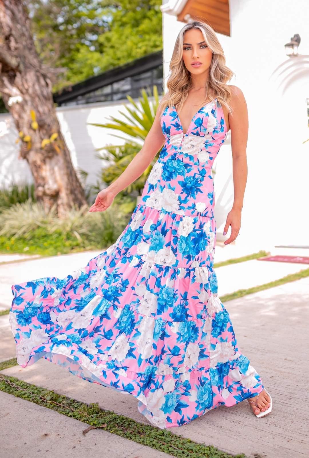 Vestido Longo Joana Crepe de Seda Floral Boho Especial Fundo Rpsa com Flores Azul