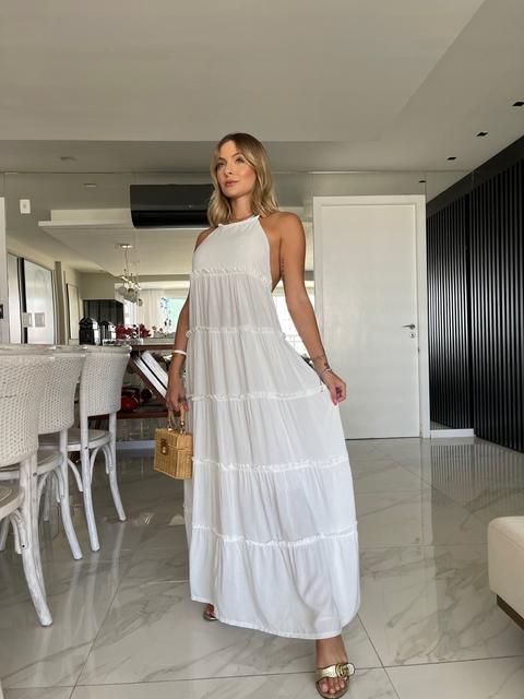 Vestido Longo Juliette Viscose Frente Única Amarração