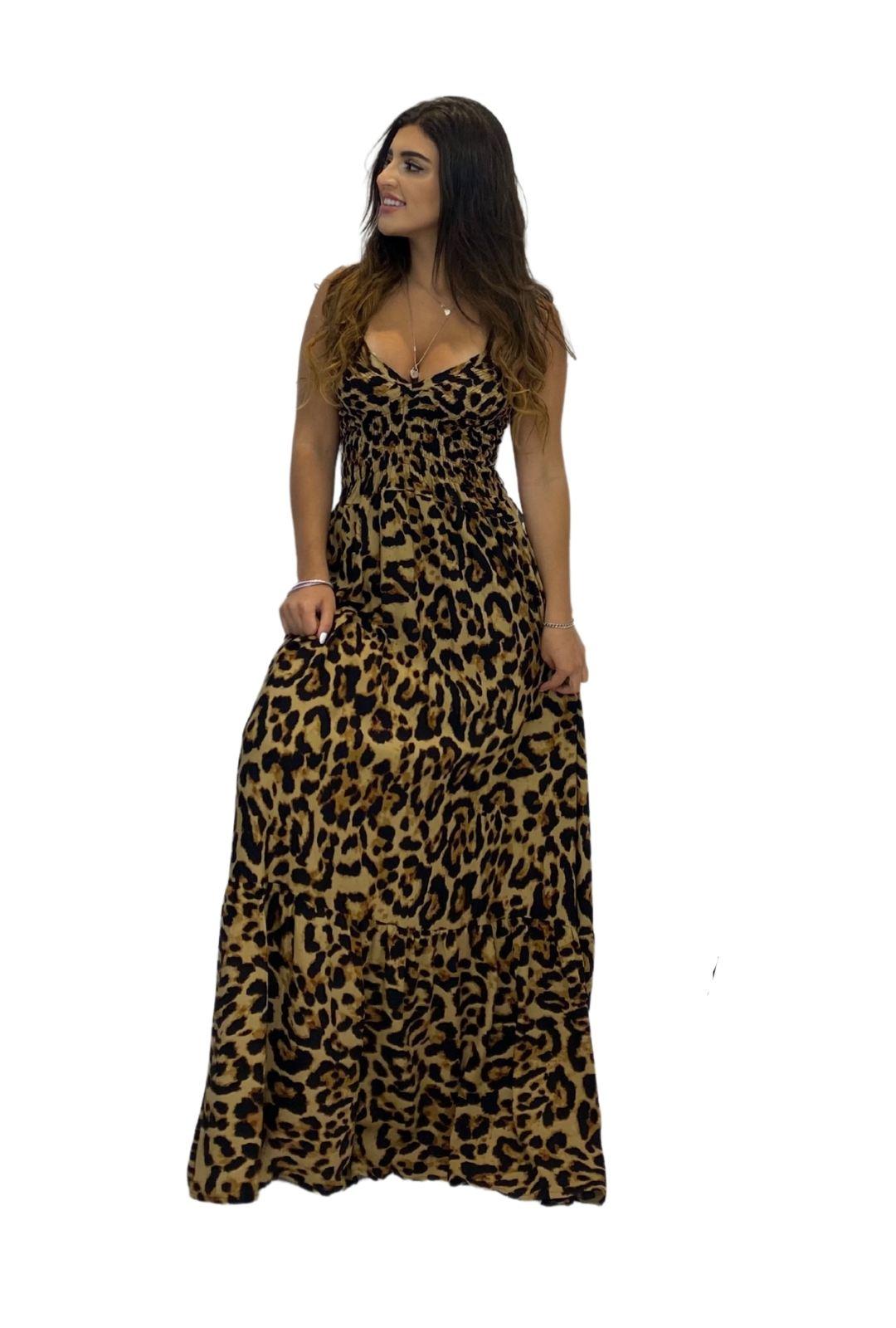 Vestido Longo Lastéx Animal Print Onça