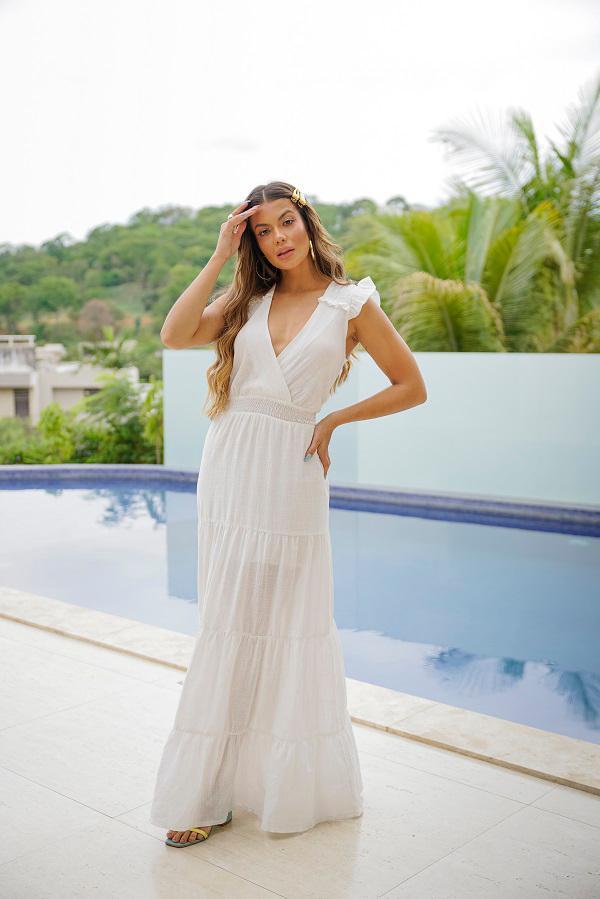 Vestido Longo Lastex Branco