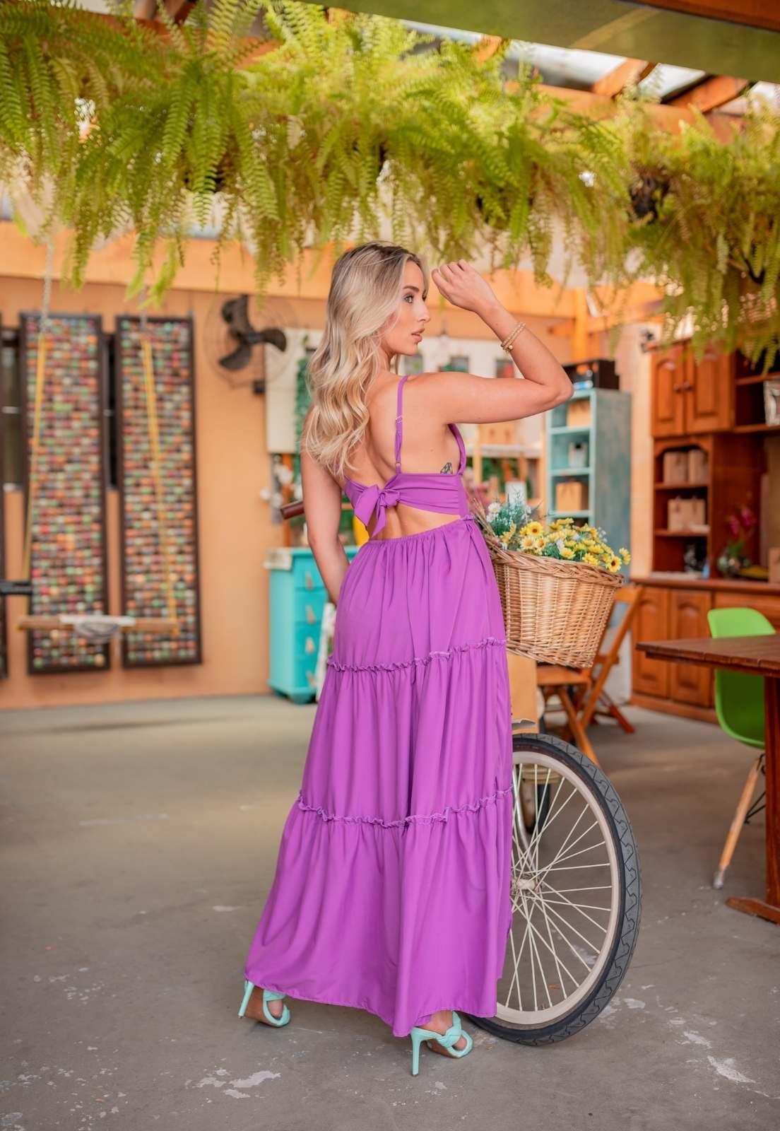 Vestido Longo Liso Uva Frente Única Silk flow