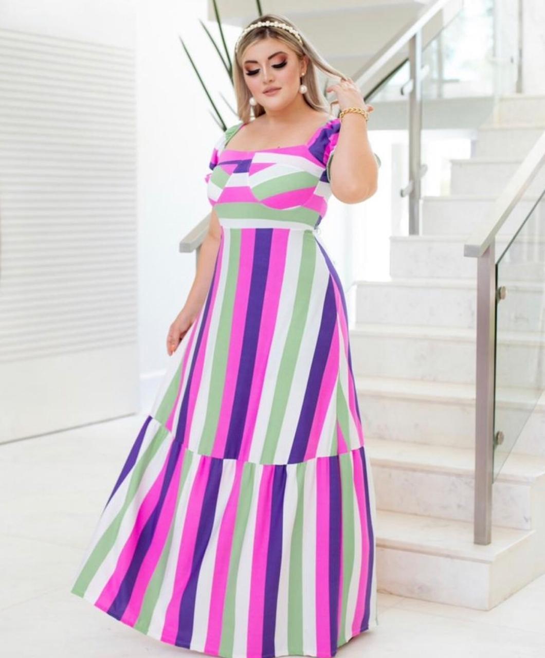 Vestido Longo Listras Color Roxo (Tamanho Único)