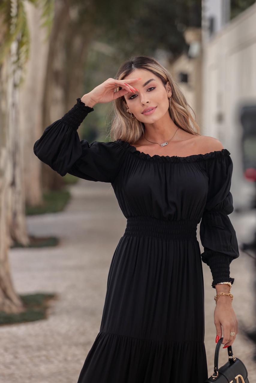 Vestido Longo Liz Manga Longa Ombro a Ombro Viscose