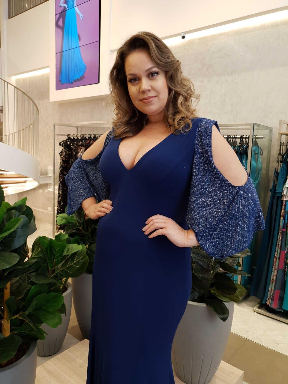 Vestido Longo Plus Size Azul Petróleo  Manga Lurex