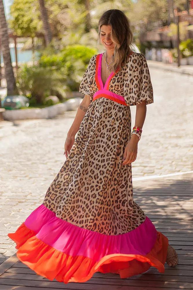 Vestido Longo Pop Tiger Onça com Rosa