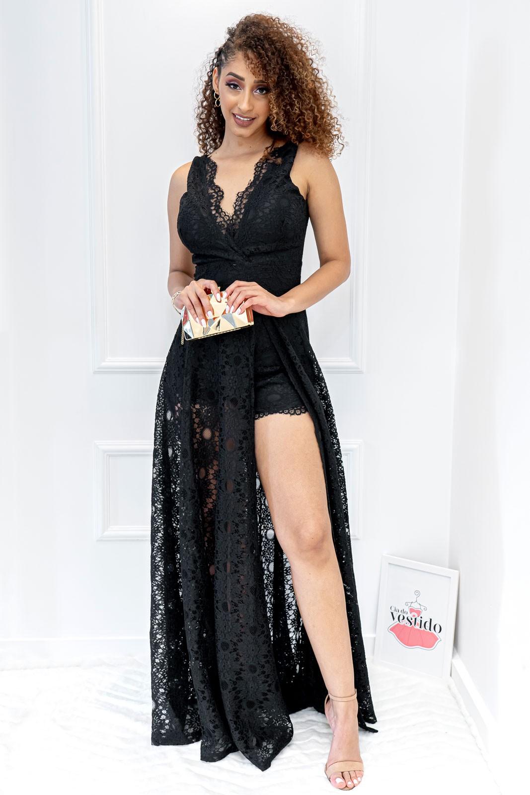 Vestido Longo Renda Preto com Fenda