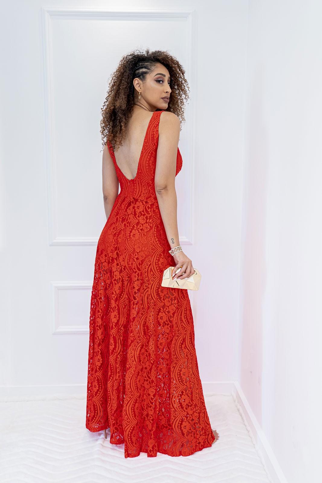 Vestido Longo Renda Vermelho com Fenda