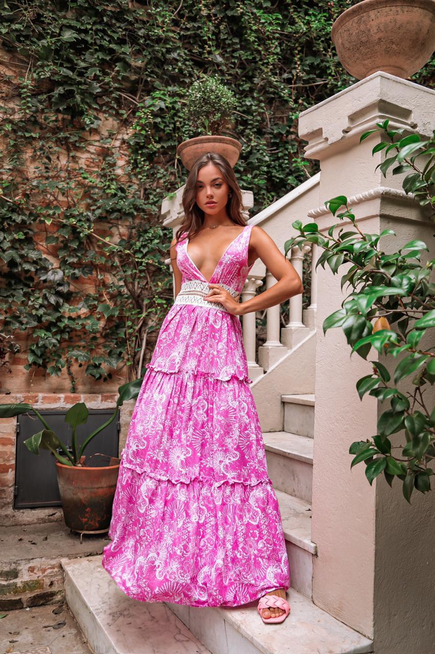 Vestido Longo Rosa Floral com Renda