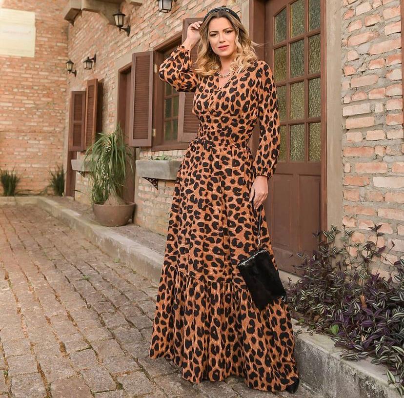 Vestido Longo Transpasse Lastex Viscose Onça Animal Print